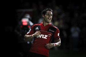 Sean Maitland of the Crusaders celebrates scoring his fourth try. Photo / Getty Images