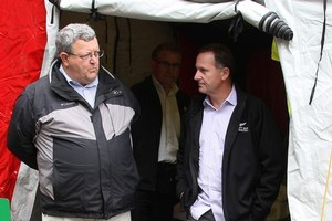 Earthquake Recovery Minster Gerry Brownlee with Prime Minister John Key in Christchurch. Photo / Greg Bowker