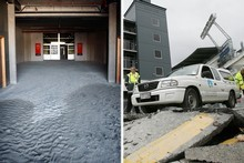 Silt underneath the PKMC stand (Left) and destroyed roads outside the AMI Stadium. Photos / Sarah Ivey, Greg Bowker