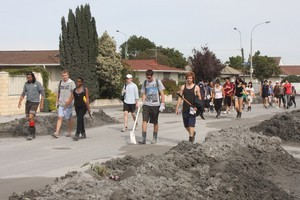 The student army helping clean-up in Christchurch after the earthquake. Photo / Geoff Sloan
