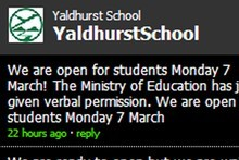 Yaldhurst Model School announces it is open on its website.