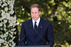 Prince William addresses the crowd at Hagley Park. Photo / NZPA