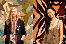 Kate Sylvester (left) in front of her 'Cosmo' rug and Boh Runga in front of her designer rug based on the monarch butterfly. Photo / Babiche Martens 