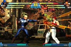 Captain America, left, battles 'Street Fighter' star Ryu in 'Marvel vs. Capcom 3: Fate of Two Worlds.'