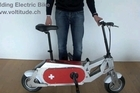 he Swiss-made Voltitude electric bike easily folds up for storage. Photo / Supplied