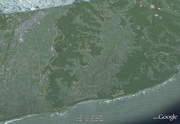 Kashima in Minamisoma in 2003. Photo / Google, DigitalGlobe