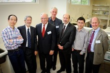 Members of a new research project led by Canterbury Scientific. (L to R)  Dr Aiwa Zhou, Dr Maurice Owen, John Vietch, Prof Steven Brennan,  Dr Neil Pattinson, Darrell Wang, Prof Robin Carrell. Photo / Supplied