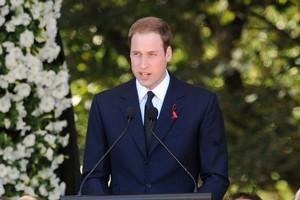 Prince William addresses the Earthquake Memorial Service at Hagley Park. Photo / NZPA