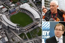 Clockwise from left: AMI Stadium after it was damaged in the quake, Christchurch Mayor Bob Parker and Rugby World Cup Minister Murray McCully. Photos / Sarah Ivey, Mark Mitchell, NZPA