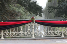 Armagh St Bridge decked out in Canterbury colours for the Memorial Service. Photo / NZPA