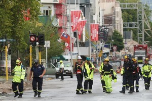 An NZ USAR team in Christchurch. Photo / Greg Bowker