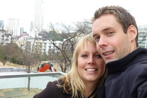 Luke and Vanessa Leaver of Auckland were among those lucky enough to have escaped harm in Japan's earthquake. Photo / Supplied