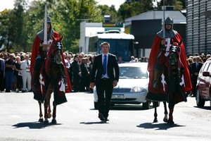 All Blacks captain Richie McCaw leads the hearse after the funeral service for Philip McDonald. Photo / Sarah Ivey