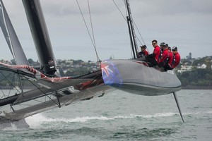 Team New Zealand take their AC45 catamaran for its first sail on the Waitemata yesterday. Photo / Chris Cameron