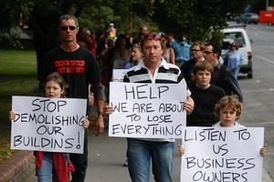 Kurt Langer leads irate business owners. Photo / Sarah Ivey