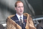 Prince William sings God Save the Queen at the memorial service yesterday. Photo / Geoff Sloan