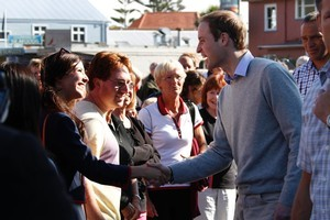 Prince William meeting locals during his walkabout in the Christchurch suburb of Sumner. Photo / Mark Mitchell
