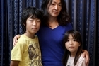 Mika Sugawara and her children Haruki (12, left) and Ayane (9) come from the worst tsunami hit region of Sendai in Japan. Photo / Natalie Slade