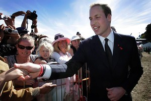 Prince William greets members of the public after attending the memorial service in Christchurch. Photo / Sarah Ivey
