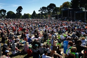 Crowds at the National Memorial Service, held at North Hagley Park in Christchurch this afternoon. Photo / Sarah Ivey