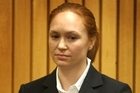 Kara Mary-Jo Hurring appears in the Rotorua District Court in relation to the theft of $10 million from Westpac Bank in Rotorua in 2009. Photo / Alan Gibson