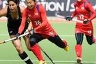 New Zealand Captain, Kayla Sharland and Japan's Aki Mitsuhashi contest the ball. Photo / Paul Estcourt