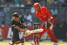 New Zealand batsman Brendon McCullum on the way to his 100 against Canada at the World Cup yesterday. Photo / Getty Images