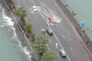 Record high tides swamped Auckland in January, damaging roads and beaches. Photo / Greg Bowker