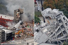 The collapsed CTV building, left, and PGC building, right. Photos / Mark Mitchell
