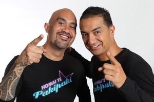Hosts Te Hamua Nikora (left) and Matai Smith love the energy of the show. Photo / Supplied
