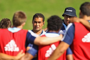 Blues coach Pat Lam talks to the team during a training session. Photo / Getty Images