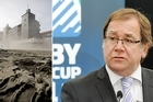 A dust bowl forms around AMI Stadium following the earthquake, left, and Rugby World Cup Minister Murray McCully announces all games scheduled for Christchurch will be moved. Photos / Dean Purcell, NZPA