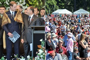 Prince William and John Key on stage, left, and right, the thousands of mourners at Hagley Park. Photos / NZPA