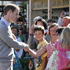 Prince Williams meets the locals during his walkabout in the Christchurch suburb of Sumner. Photo / Mark Mitchell