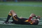 Stephen Donald of the Chiefs lies injured. Photo / Getty Images