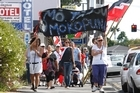 The seabed and foreshore hikoi marches along The Strand in Tauranga. Photo / APM