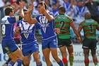 Tim Lafai of the Bulldogs celebrates after scoring the winning try. Photo / Getty Images