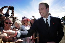 Prince William greets members of the public after attending the National Memorial Service, held at North Hagley Park in Christchurch. Photo / Sarah Ivey