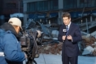 John Campbell reporting at the scene of the Christchurch earthquake last September 2010. Photo / Supplied