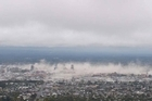 Dust cloud: Christchurch city moments after a 6.3 magnitude earthquake struck the city.