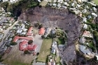 Redcliffe School, centre, following February's earthquake. Photo / Sarah Ivey