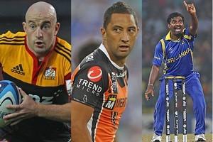 Brendan Leonard (Chiefs), Benji Marshall (West Tigers) and Muttiah Muralidaran (Sri Lanka). Photo / Getty Images