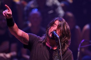 Dave Grohl, lead singer of the Foo Fighters, who played a special one-off charity gig at the Auckland Town Hall to support the Christchurch earthquake fund. Photo / Richard Robinson
