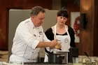 MasterChef New Zealand's Simon Gault with contestant Fiona Read. Photo / Supplied
