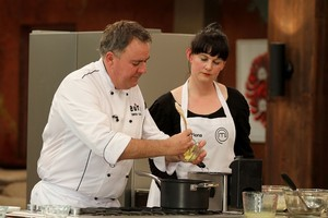 MasterChef New Zealand's Simon Gault with a contestant. Photo / Supplied