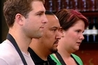 Sam Henderson, Cameron Petley and Michelle Berry face the judges.