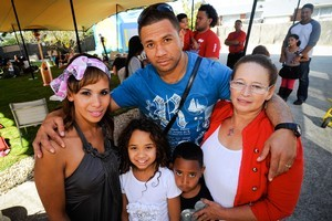 Megan and Pita with chidren Tiara, and Trey with Megan's mother Barbara Cassie. Photo / Jason Dorday