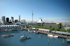 Artists' impressions show the proposed cone-topped ASB building on the Wynyard Quarter waterfront. Photo / Supplied
