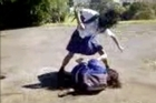 The attacker was filmed as she knocked Robin de Jong to the ground and brutally bashed her. Photo / Supplied
