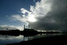 The Waikato River with the Huntly  Power Station. Photo / Dean Purcell
